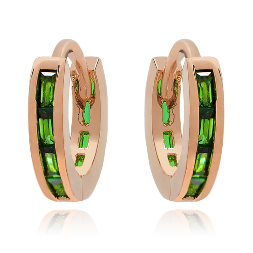 Endless Emerald Band Huggie Earrings - rose gold
