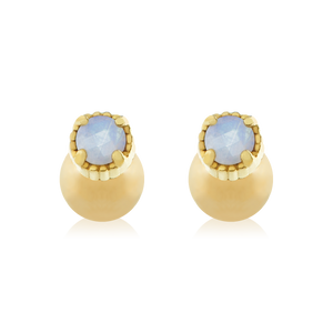 Sicily Moonstone Stud Earrings - gold