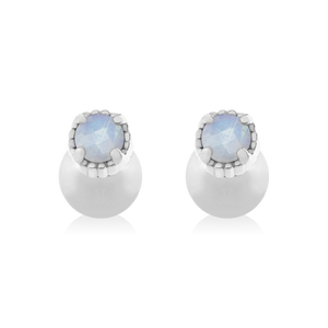 Sicily Moonstone Stud Earrings - silver