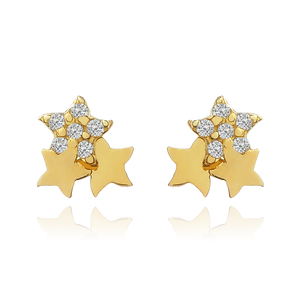 Sparkle Stars Stud Earrings - 14KT solid gold