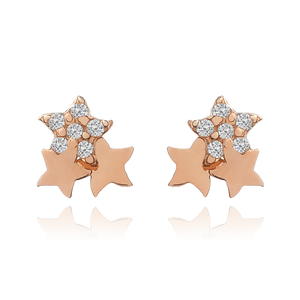 Sparkle Stars Stud Earrings - 14KT solid rose gold