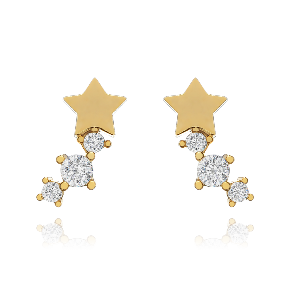 Star Rise Stud Earrings - gold