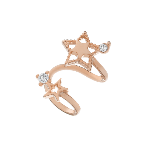 Stellar Star Ear Cuff side view - rose gold