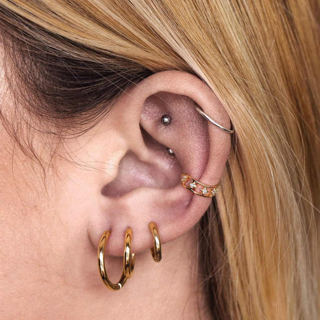 Arcadia Ear Cuff on model - gold