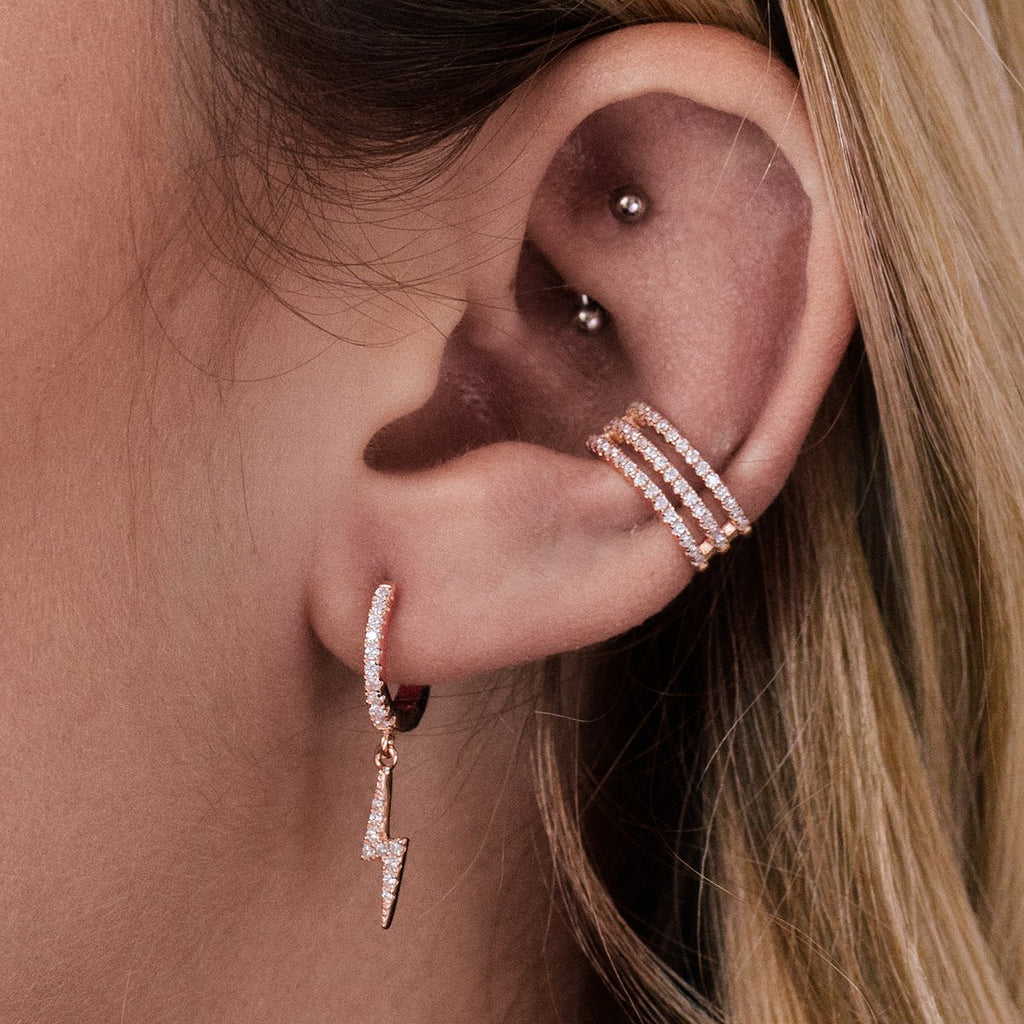 Lightning Bolt Sleeper Earrings on model - rose gold