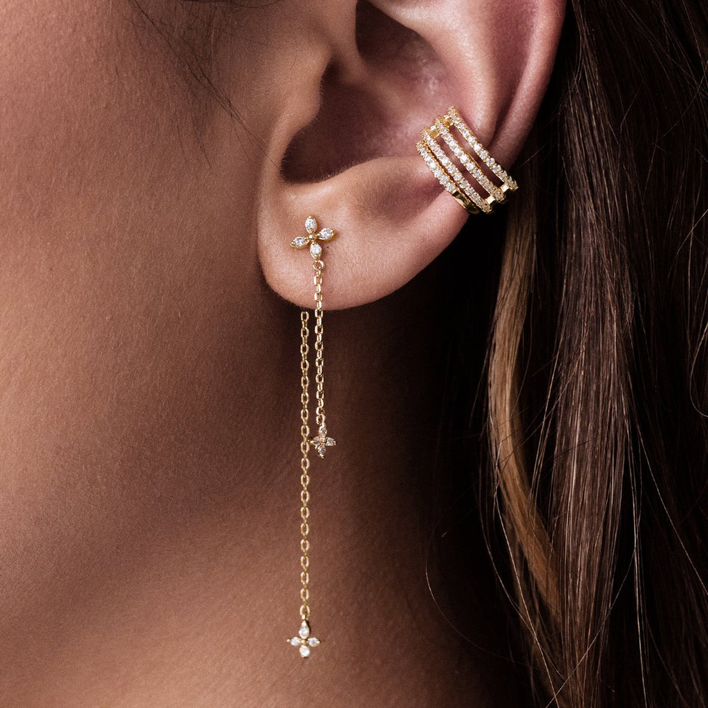 Clover Chain Earrings on model - gold