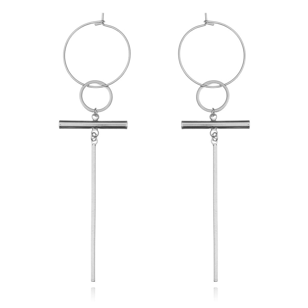 Eleanor hoop dangle earrings - silver