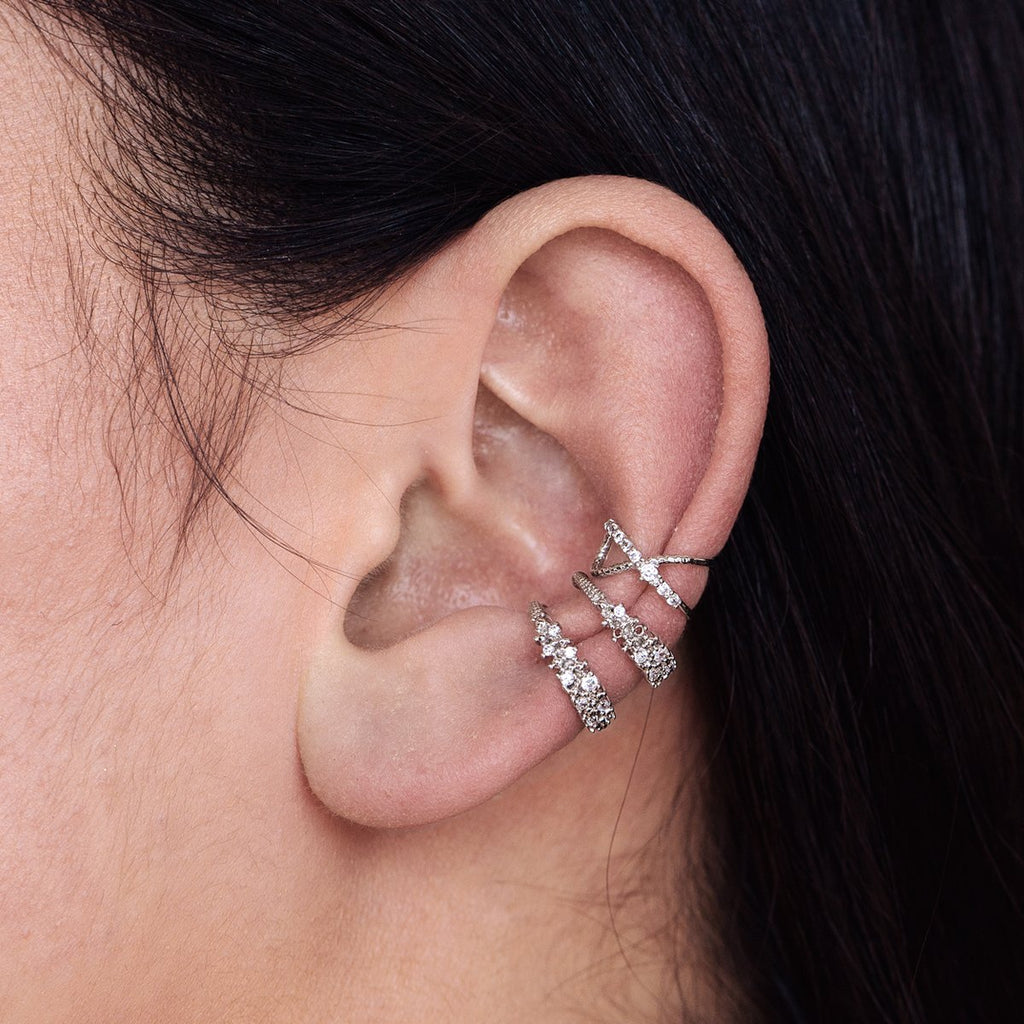 Helix Gem Ear Cuff on model - silver