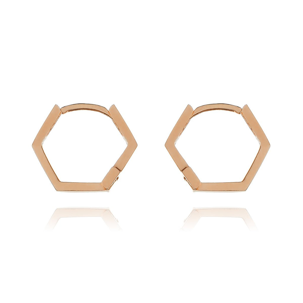 Hex Sleeper Hoop Earrings - rose gold