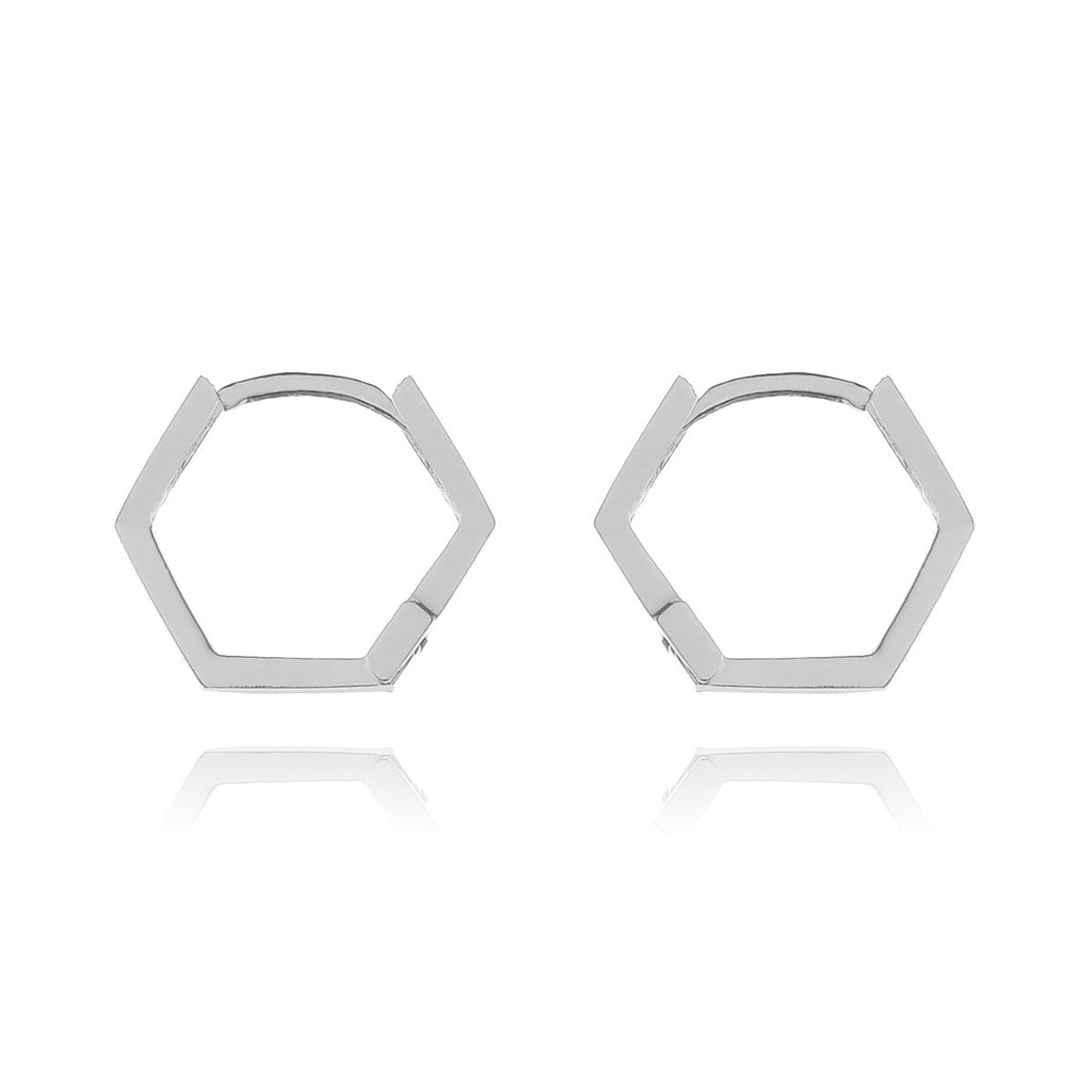 Hex Sleeper Hoop Earrings - sterling silver