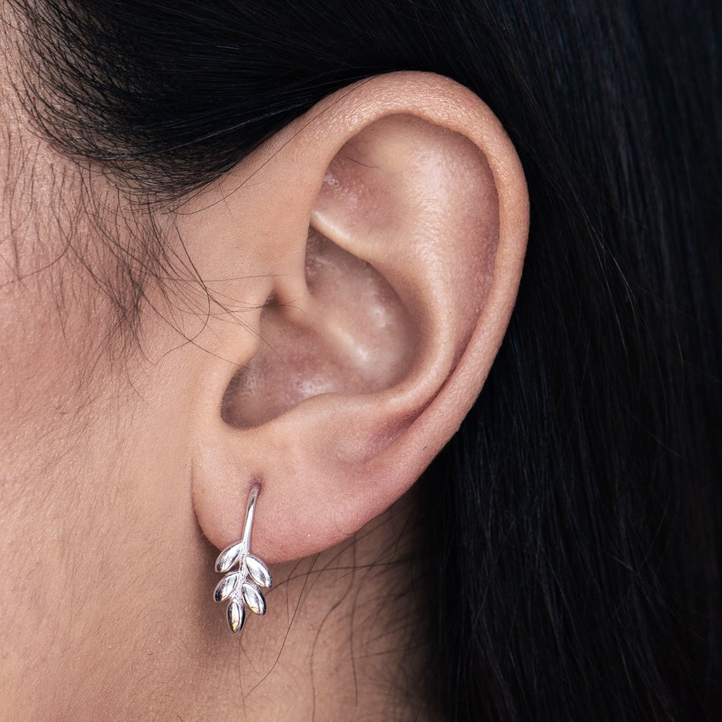 Jasmine Floral Climber Earrings on model 2 - sterling silver