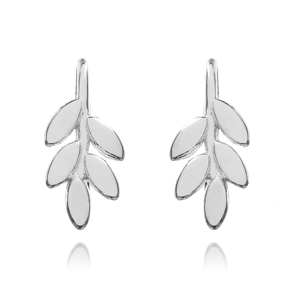 Jasmine Floral Climber Earrings front view - sterling silver