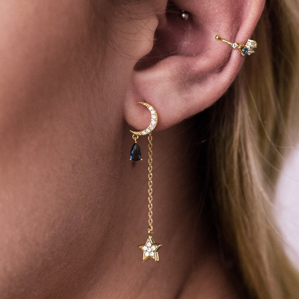 Low Moon Chain Earrings on model - gold