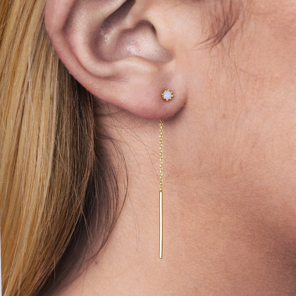 Lucent Chain Moonstone Earrings on model - gold