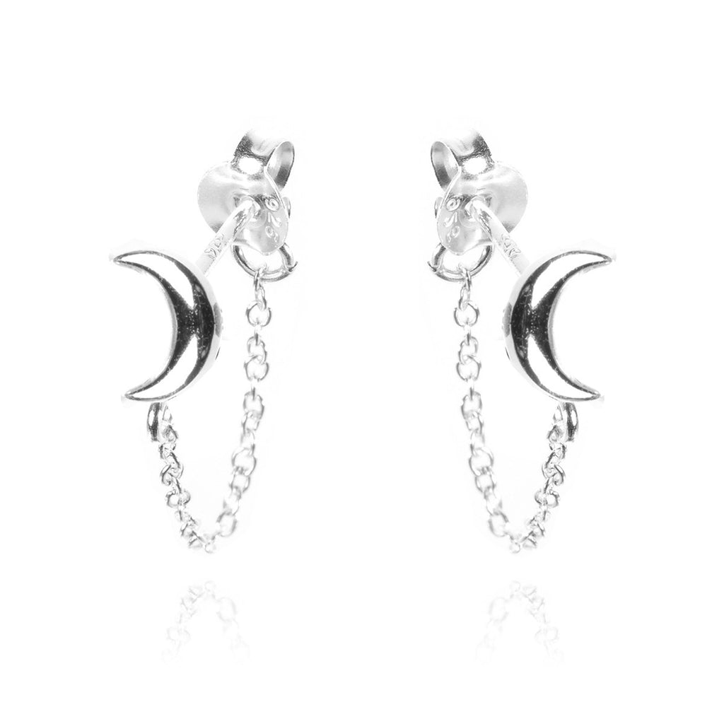 Lunar Moon Chain Earrings - sterling silver