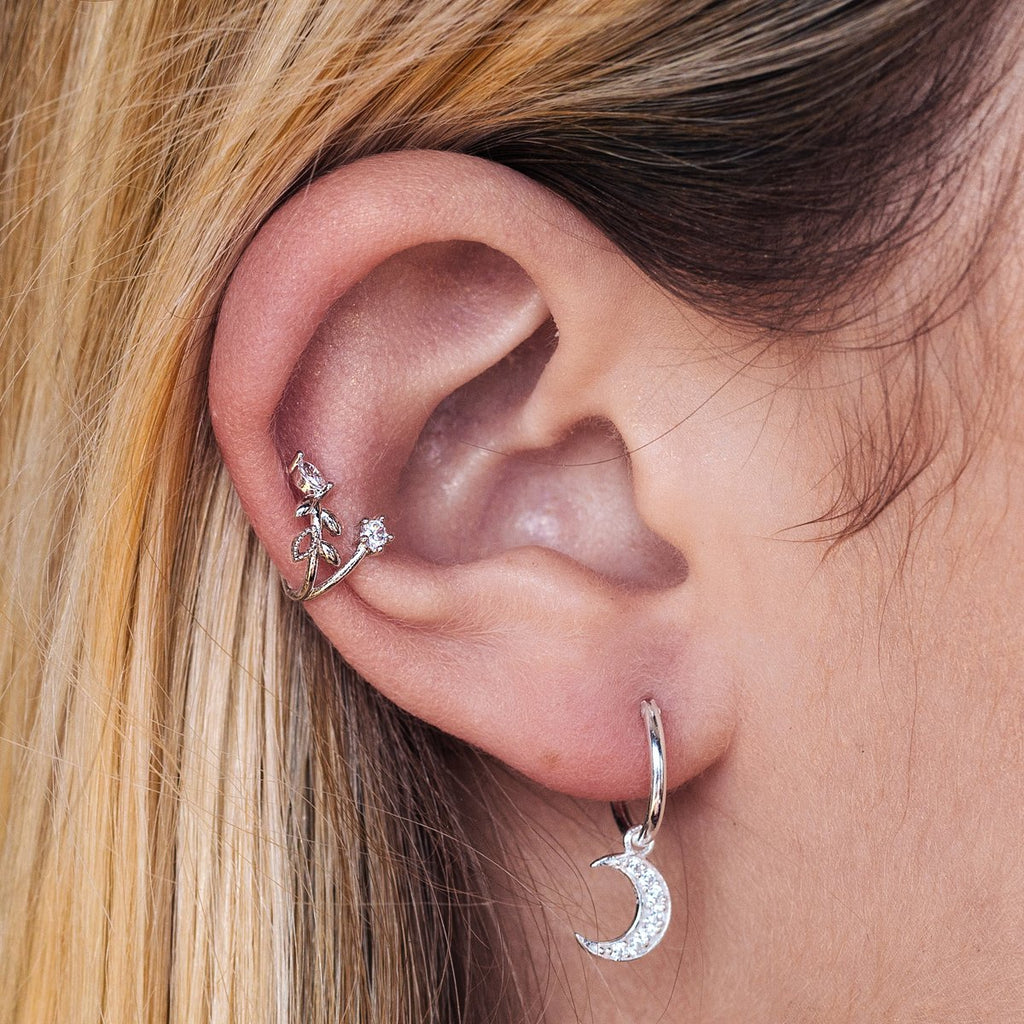 Ivy Flower Ear Cuff on model - silver