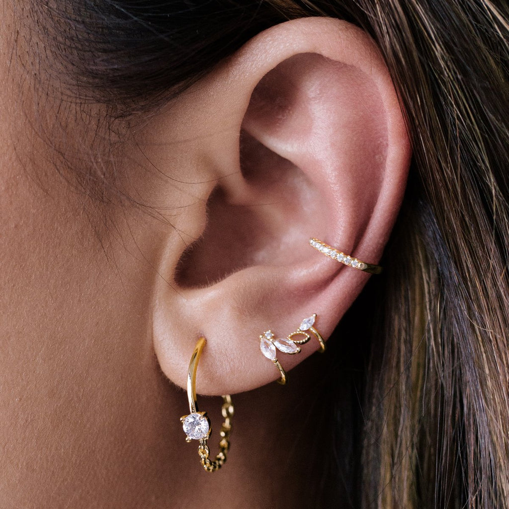 Petals Gemstone Ear Cuff on model - gold