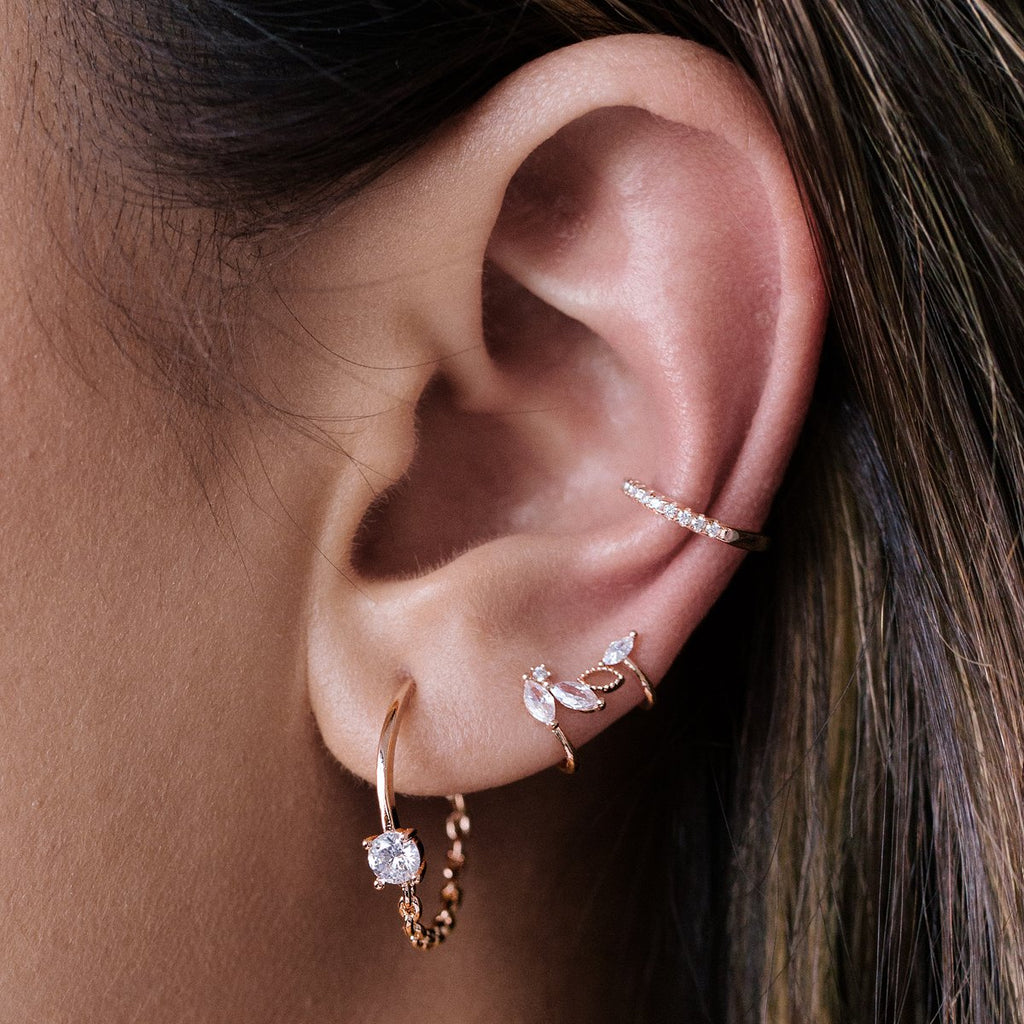 Petals Gemstone Ear Cuff on model - rose gold