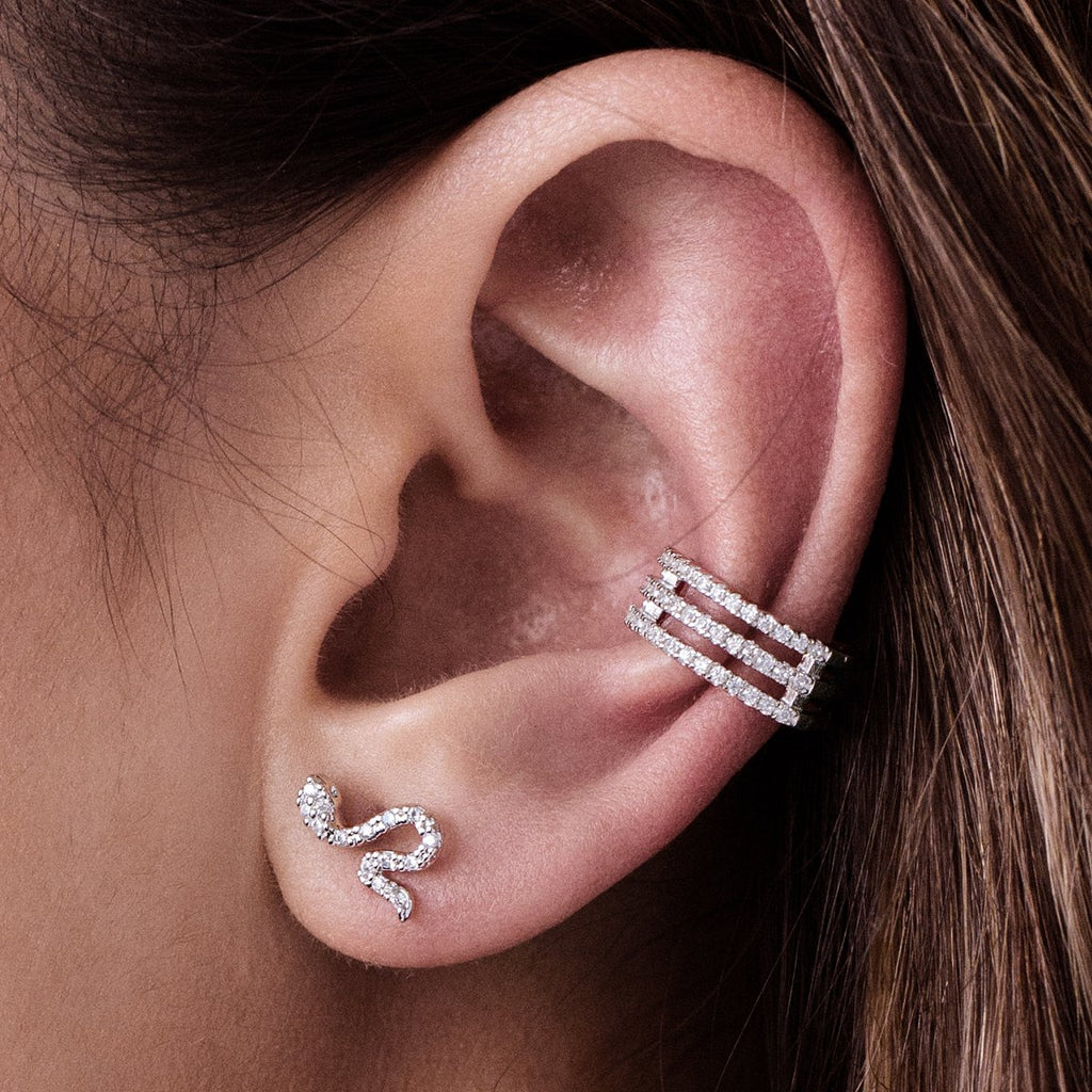 Serpent Stud Earrings on model - silver
