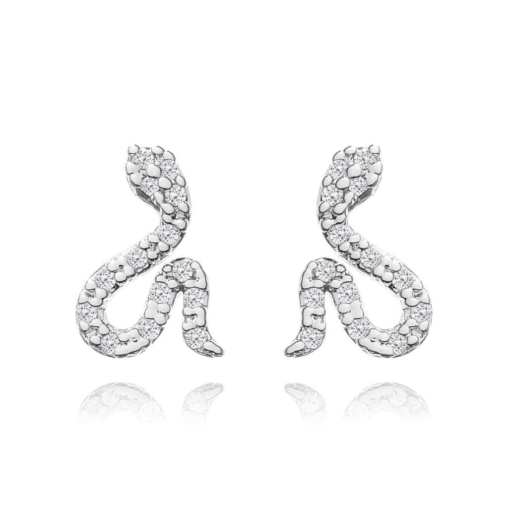 Serpent Stud Earrings - silver