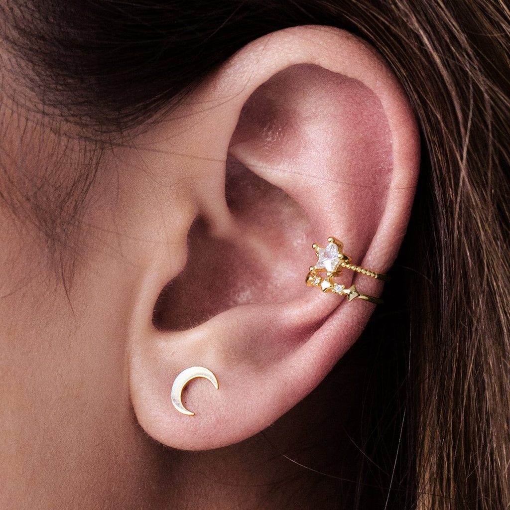 Starbound Double Tiered Ear Cuff on model - gold