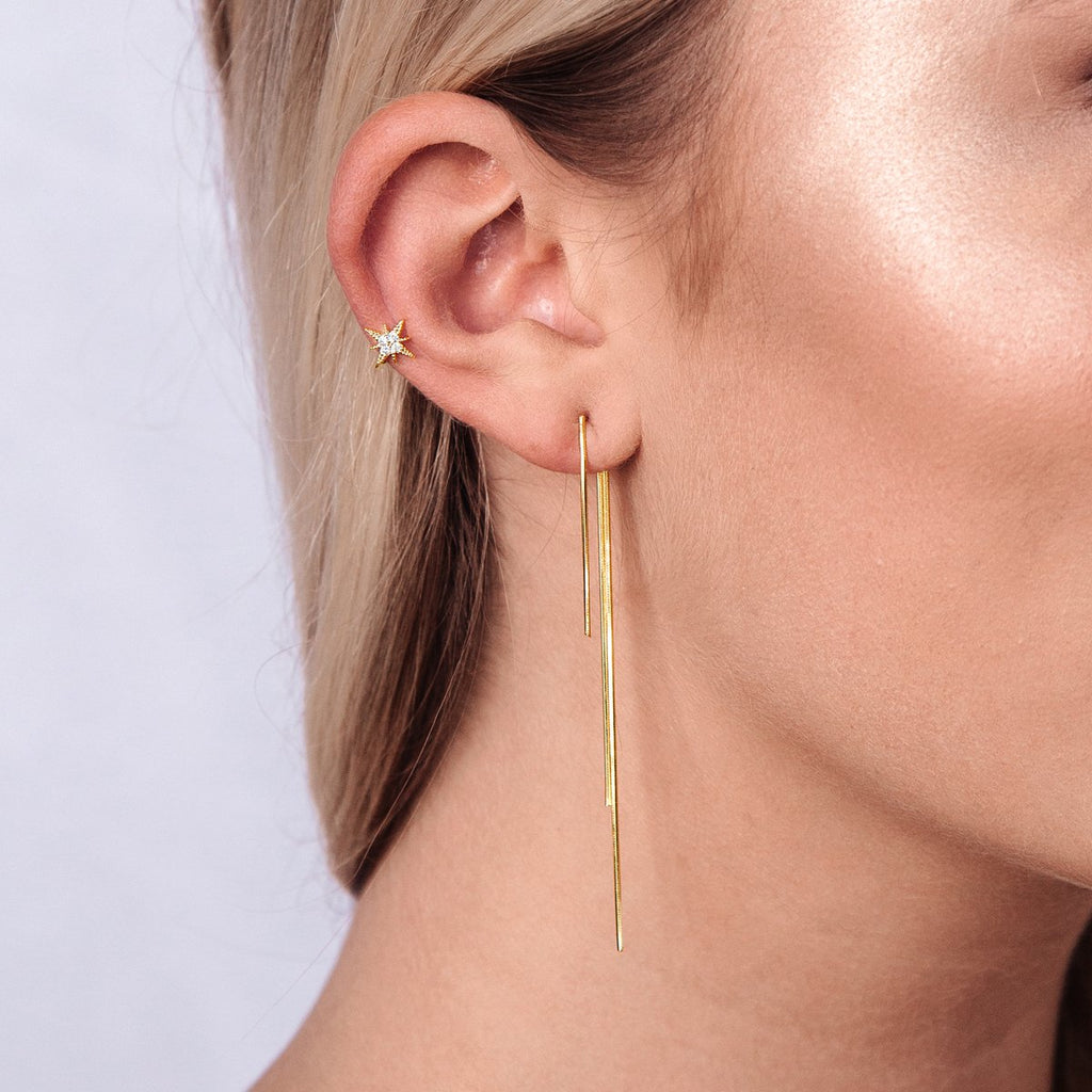 Supreme Chain Jacket Earrings on model - gold