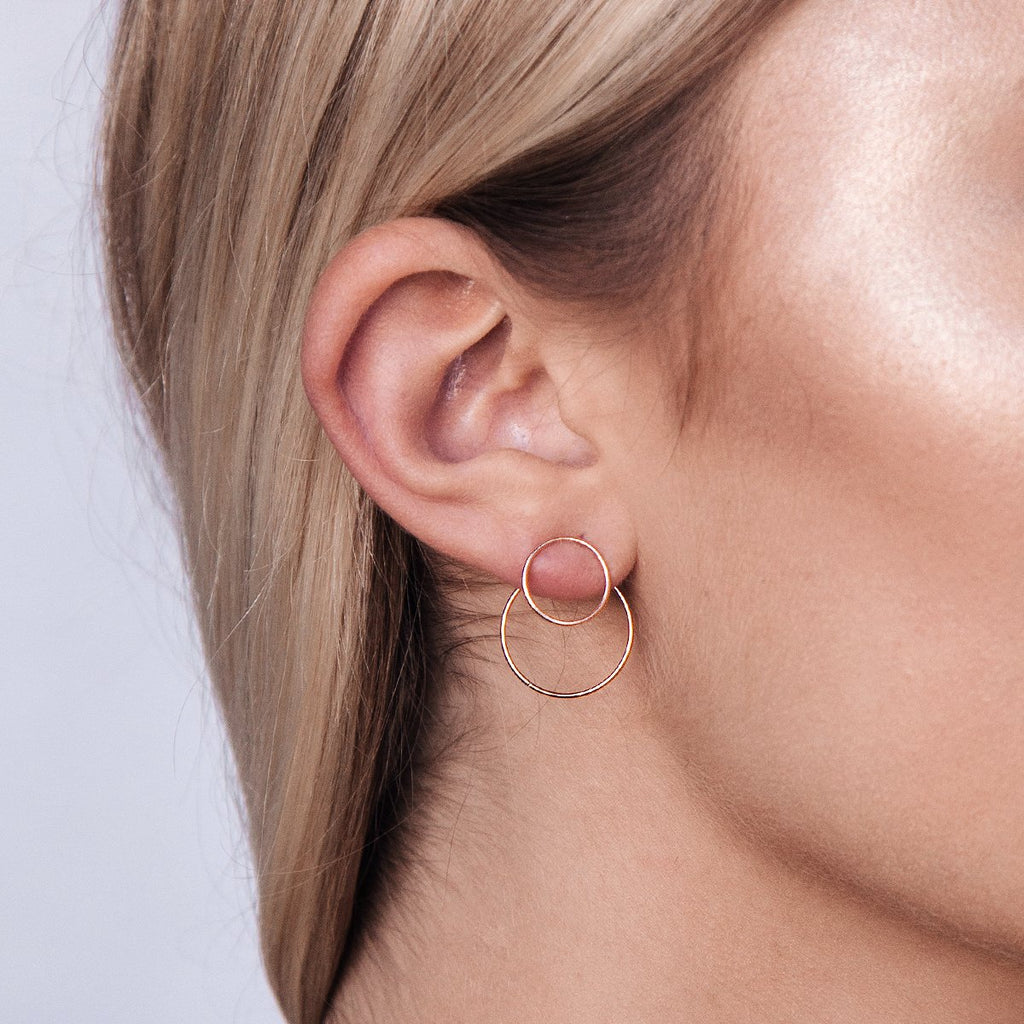 Youth Jacket Hoop Earrings on model - rose gold