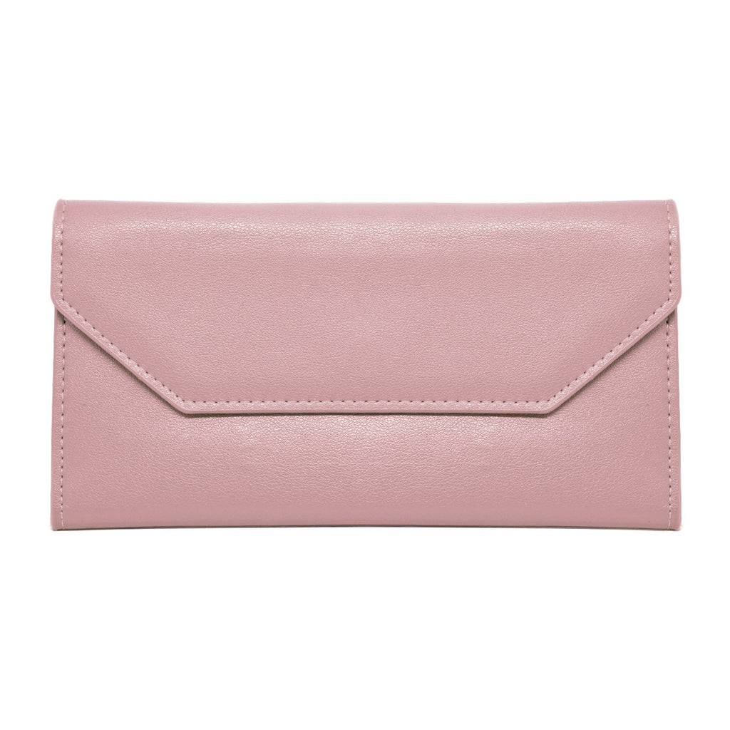Moby Leather Wallet front - blush pink