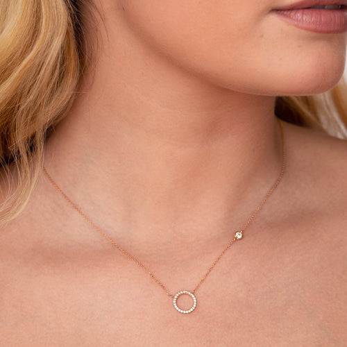 Afterglow Halo Gemstone Necklace on model - rose gold