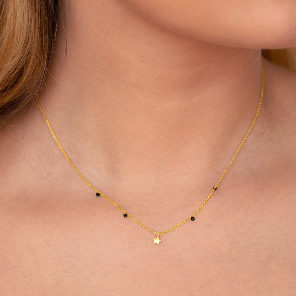 Astral Star Necklace on model - gold