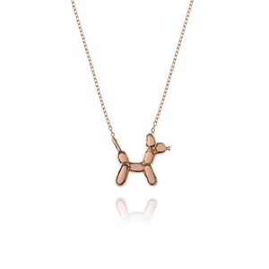 Balloon Dog Necklace - rose gold