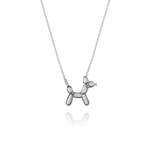 Balloon Dog Necklace - silver