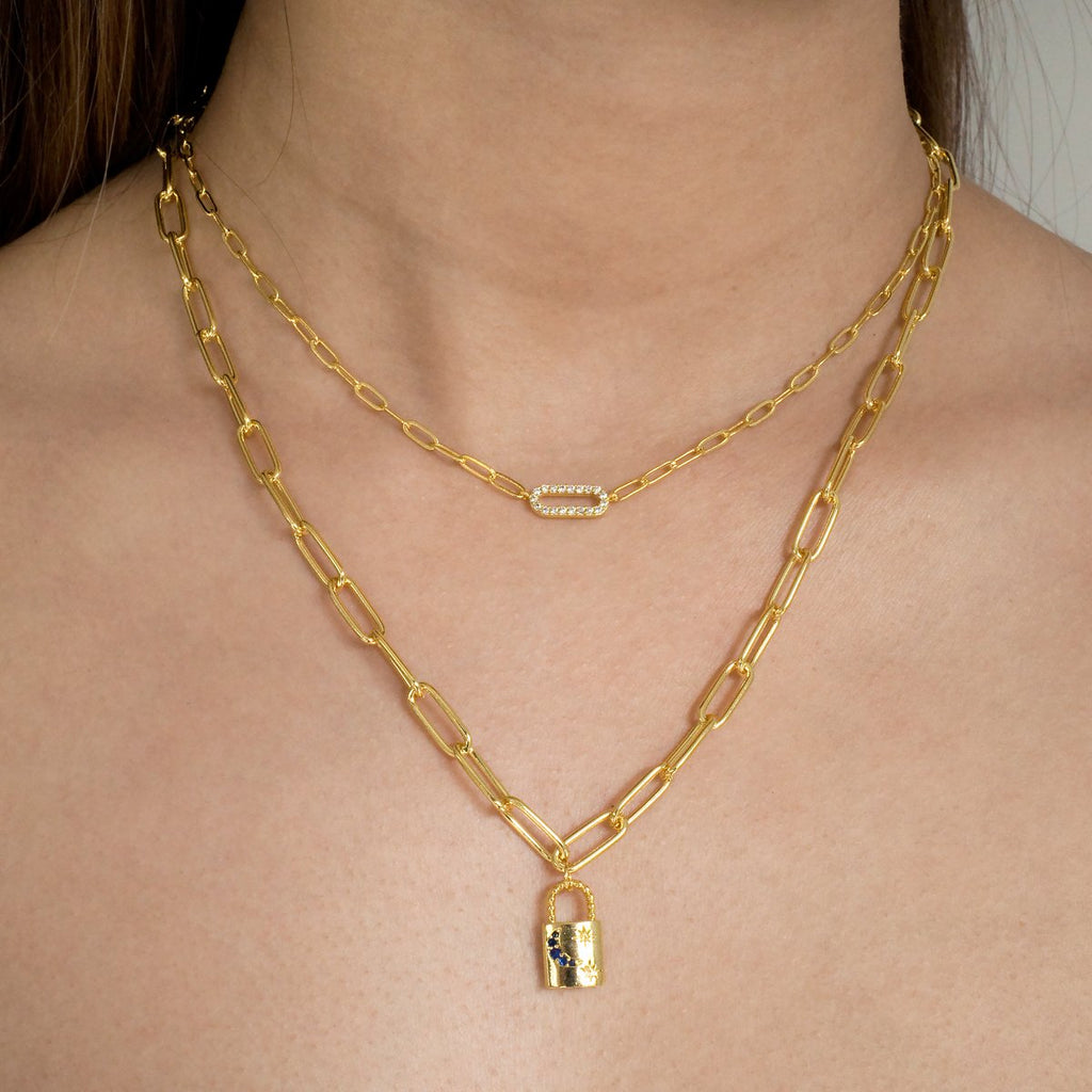 Dreamscape Chain & Padlock Necklace on model - gold