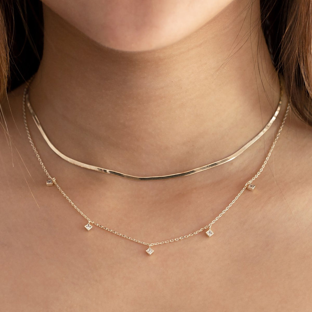 Maisie Flat Snake Chain Necklace on model - sterling silver