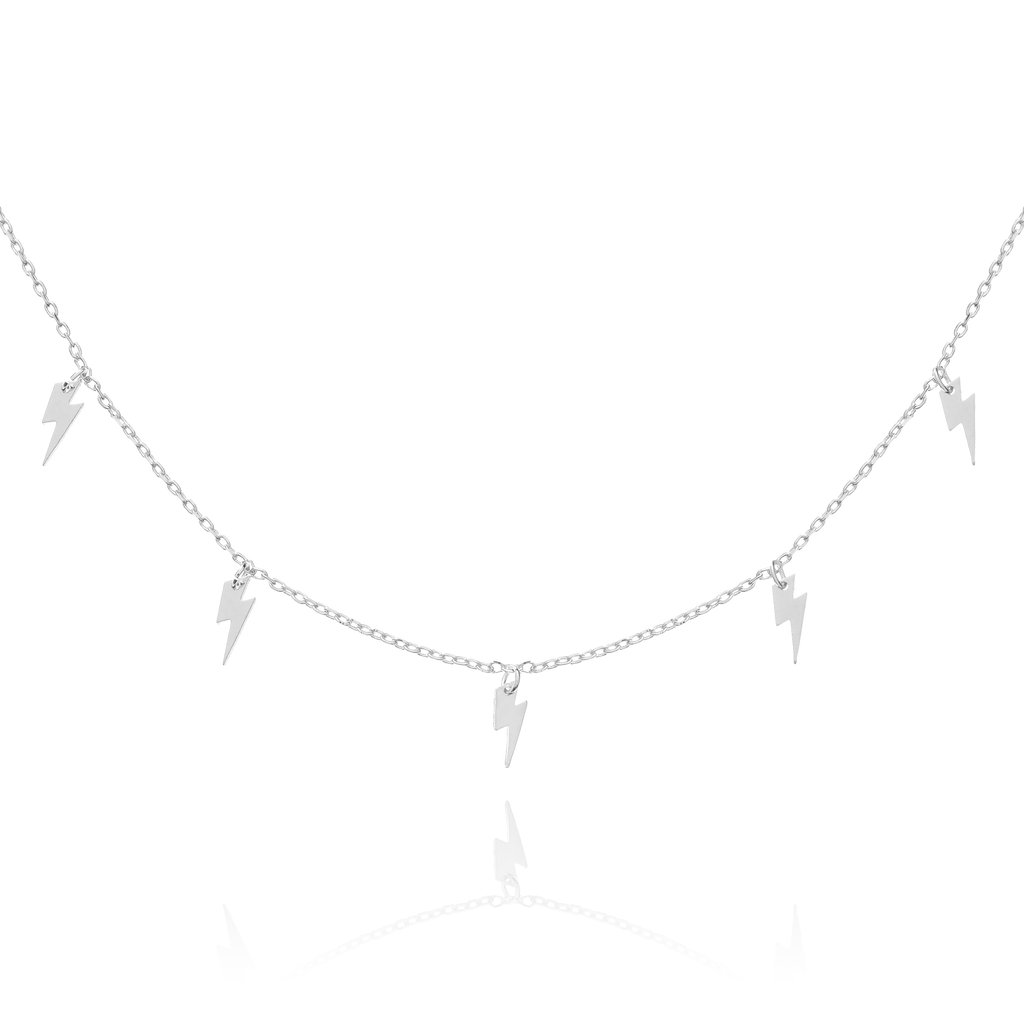 Jolt Lightning Charm Necklace - silver