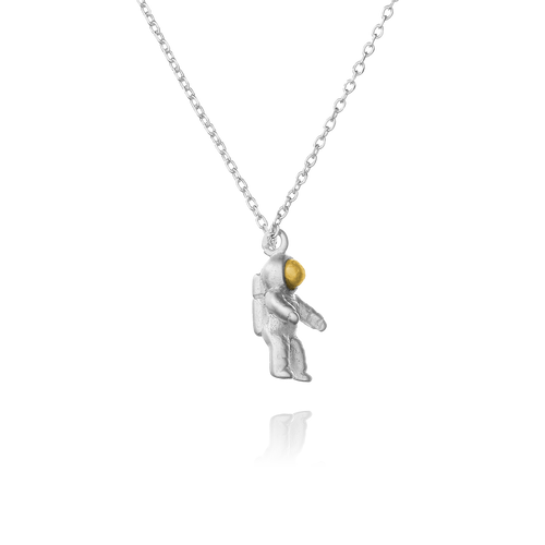 Rocketman Astronaut Necklace side view - silver