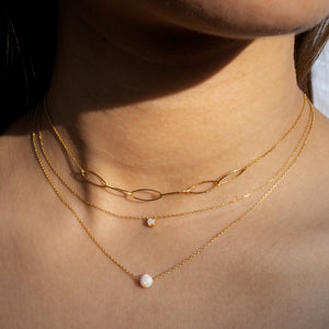 Ariel Opal Necklace on model - gold