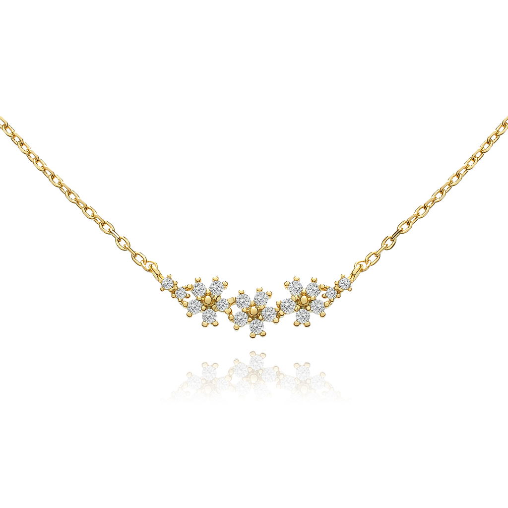 Triple Daisy Gemstone Necklace - gold