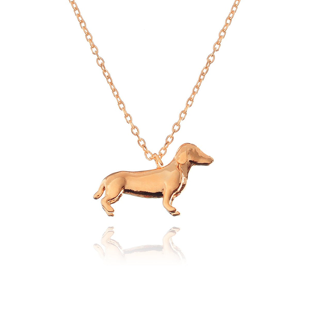 Lowrider Dachshund Dog Necklace - rose gold