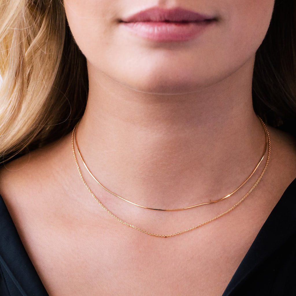 Gemini Twin Chain Necklace on model - rose gold