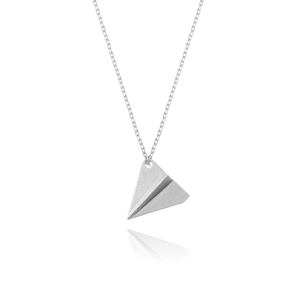 Paper Plane Necklace - silver