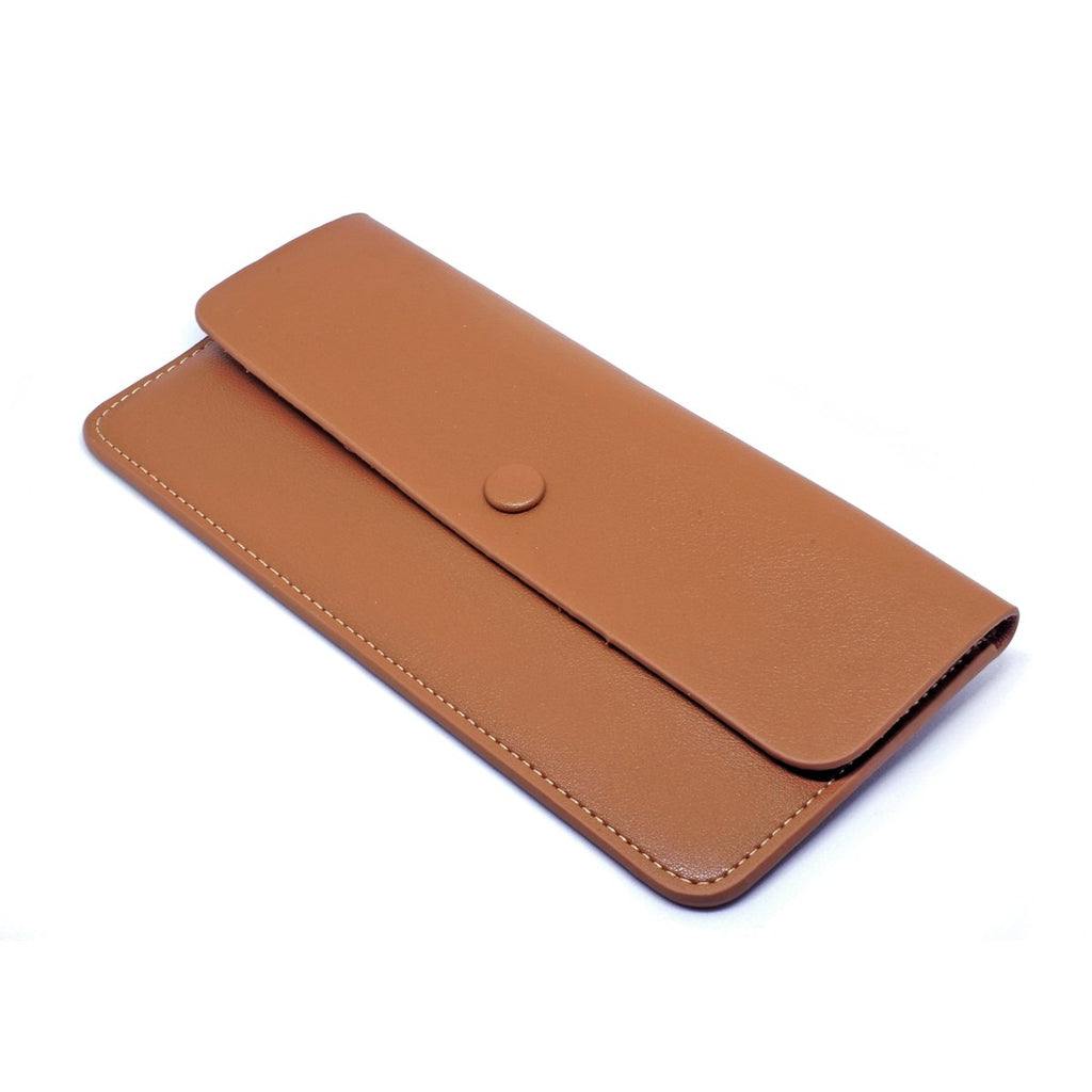 Premonition Leather Wallet angle - tan