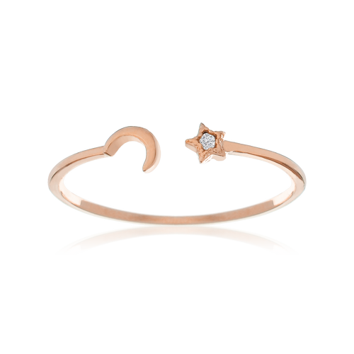 Lilith Moon & Star Ring - rose gold