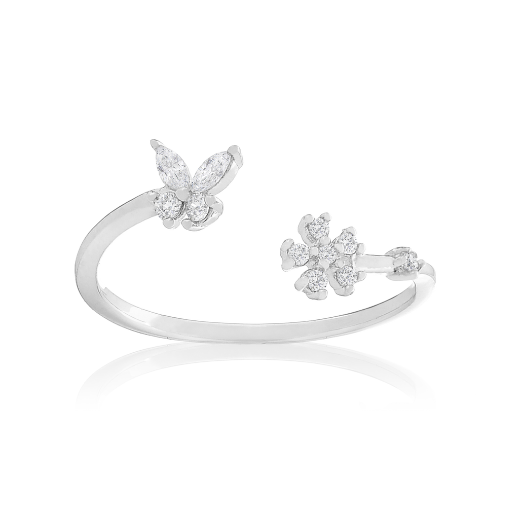 Magnolia Flower & Butterfly Ring - sterling silver