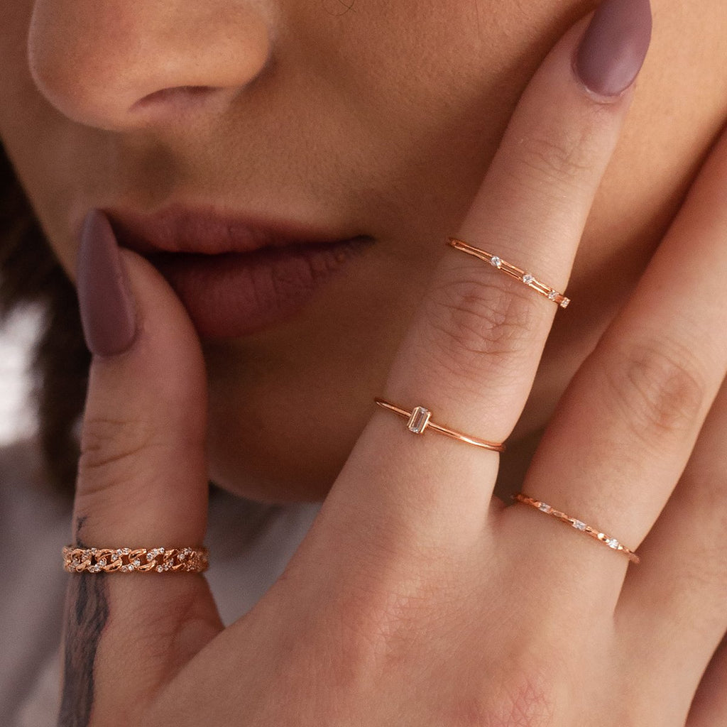 Triple Baguette Ring on model - rose gold