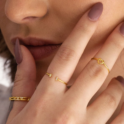 Remy Gemstone Open Ring on model - gold