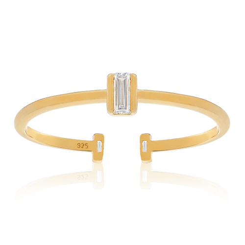 Remy Gemstone Open Ring back - gold