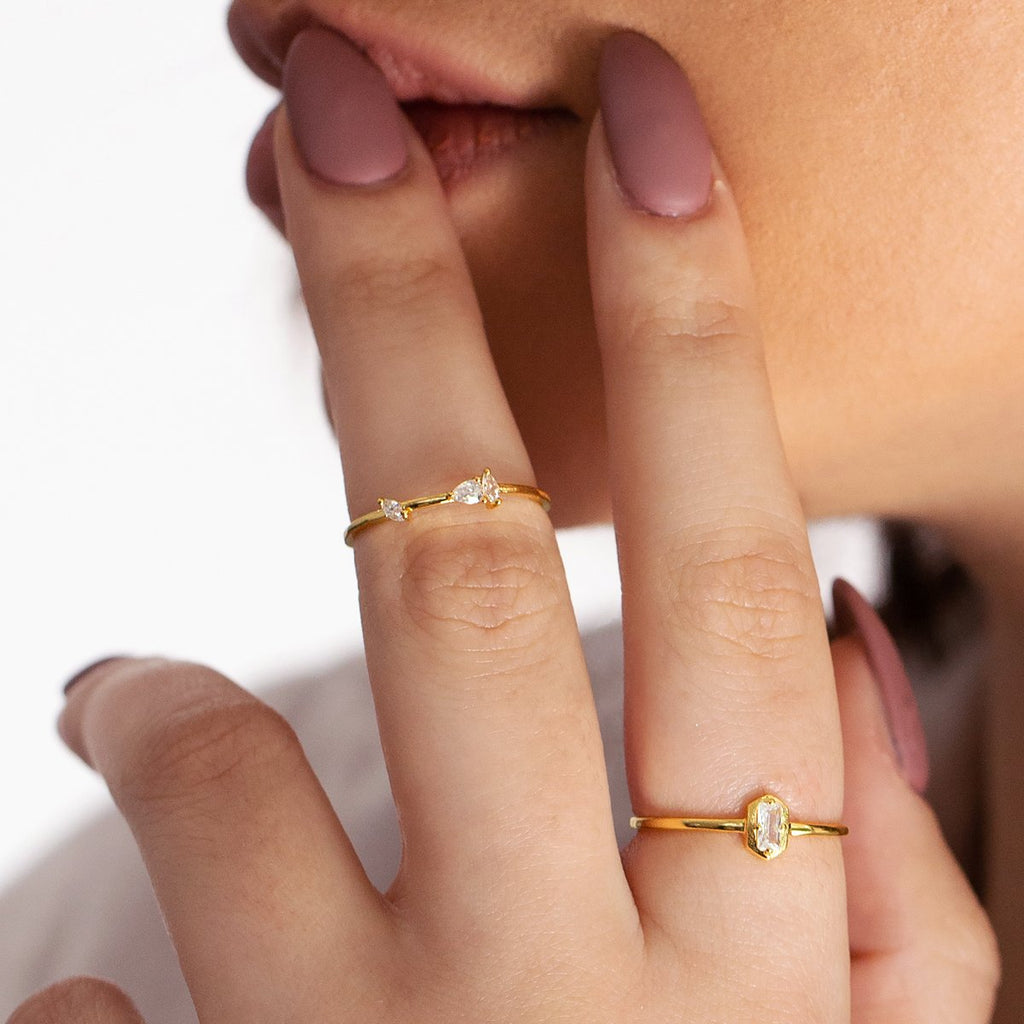 Thea Gemstone Ring on model - gold