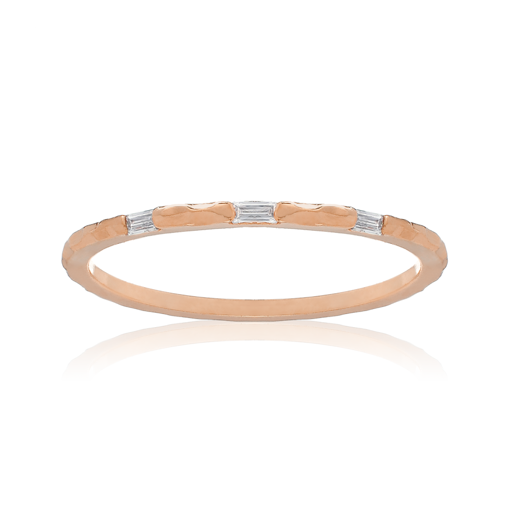 Triple Baguette Ring - rose gold