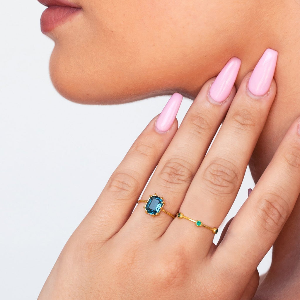 Alchemy Gemstone Ring on model - gold